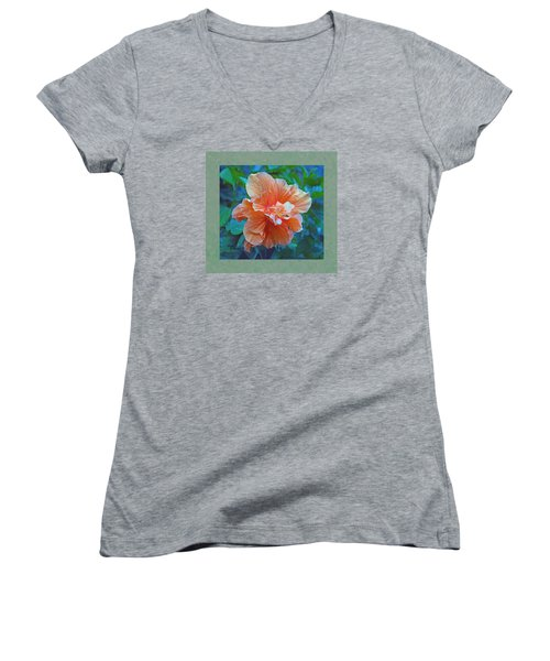 Fancy Peach Hibiscus Women's V-Neck T-Shirt