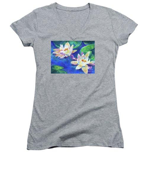 Women's V-Neck T-Shirt (Junior Cut) featuring the painting Fancy Waterlilies by Kathy Braud