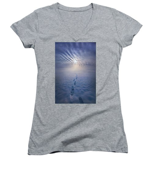 Women's V-Neck T-Shirt (Junior Cut) featuring the photograph Far And Away by Phil Koch