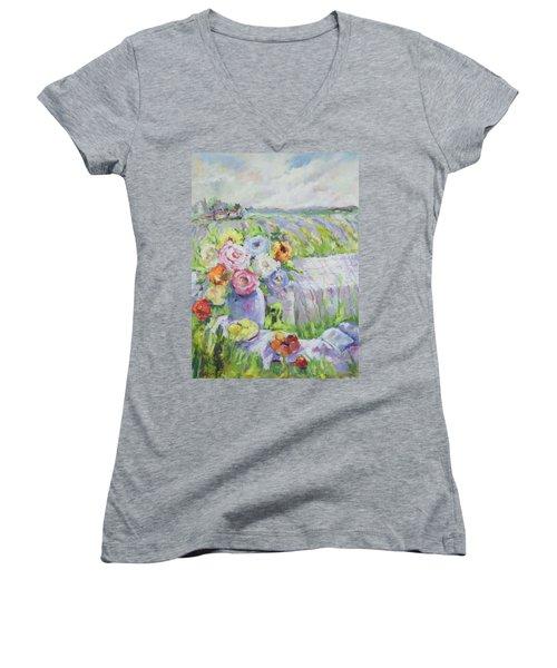 Far Away Women's V-Neck T-Shirt (Junior Cut) by Sharon Furner