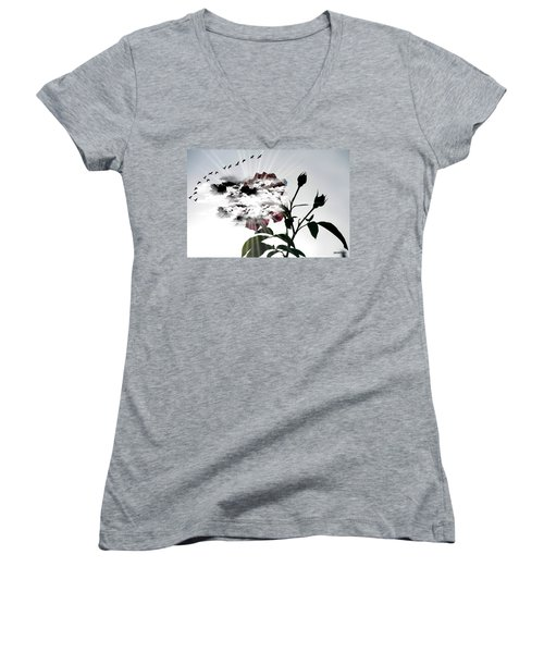 Far Beyond What Eyes Can See Women's V-Neck T-Shirt (Junior Cut) by Paulo Zerbato