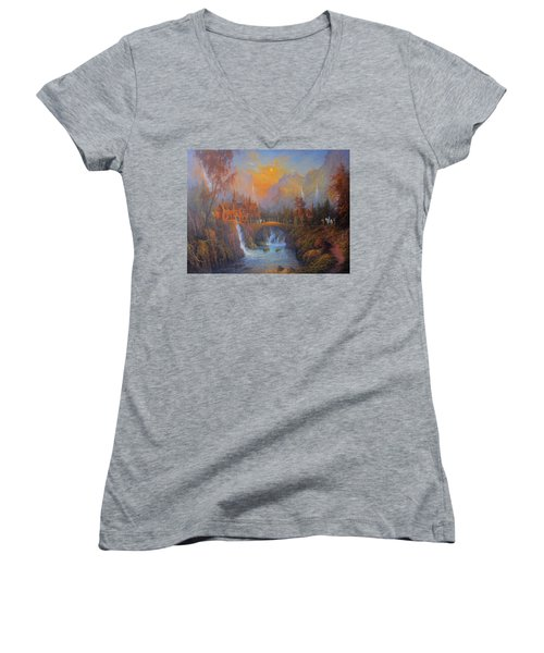 Farewell To Rivendell The Passing Of The Elves Women's V-Neck T-Shirt (Junior Cut) by Joe  Gilronan