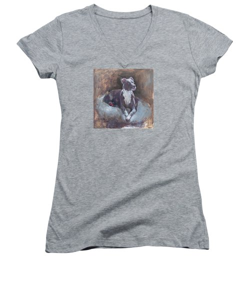 Women's V-Neck T-Shirt (Junior Cut) featuring the painting Faris 1 by Becky Kim