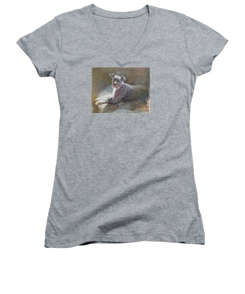 Women's V-Neck T-Shirt (Junior Cut) featuring the painting Faris 2 by Becky Kim
