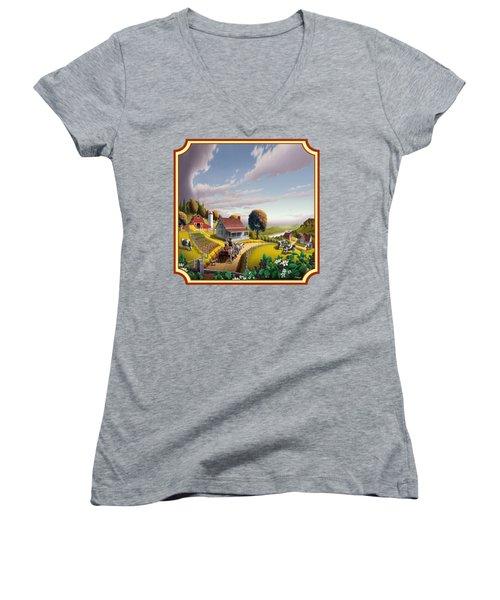 Farm Americana - Farm Decor - Appalachian Blackberry Patch - Square Format - Folk Art Women's V-Neck T-Shirt