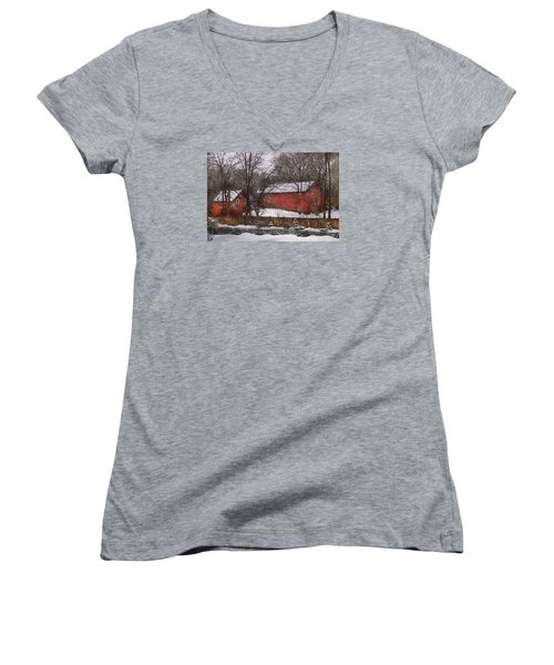 Farm - Barn - Winter In The Country  Women's V-Neck T-Shirt (Junior Cut) by Mike Savad