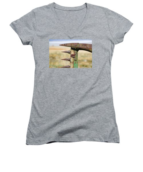 Women's V-Neck T-Shirt (Junior Cut) featuring the photograph Farm Equipment 1 by Ely Arsha