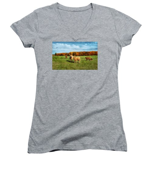 Farm Field And Brown Cows Women's V-Neck