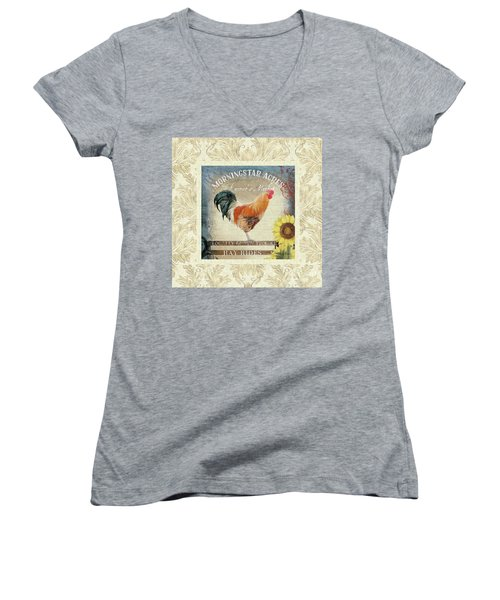 Women's V-Neck T-Shirt featuring the painting Farm Fresh Damask Barnyard Rooster Sunflower Square by Audrey Jeanne Roberts