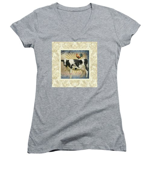 Women's V-Neck T-Shirt featuring the painting Farm Fresh Damask Milk Cow Red Rooster Sunburst Family N Friends by Audrey Jeanne Roberts