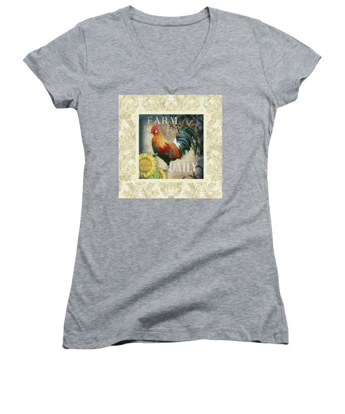 Women's V-Neck T-Shirt featuring the painting Farm Fresh Damask Red Rooster Sunflower by Audrey Jeanne Roberts