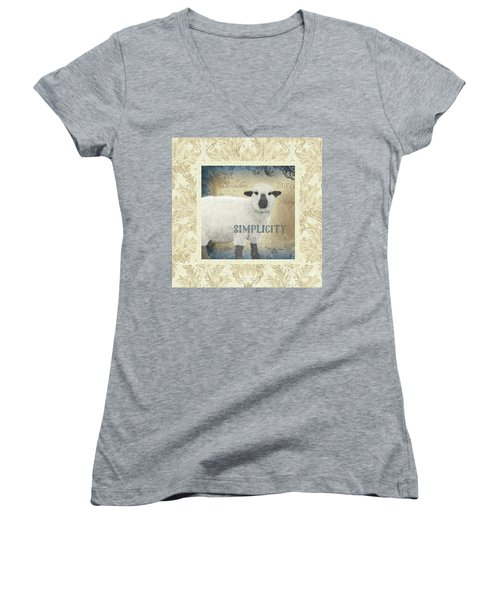 Women's V-Neck T-Shirt featuring the painting Farm Fresh Damask Sheep Lamb Simplicity Square by Audrey Jeanne Roberts