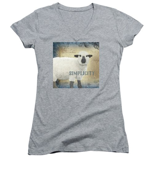 Women's V-Neck T-Shirt featuring the painting Farm Fresh Sheep Lamb Simplicity Square by Audrey Jeanne Roberts