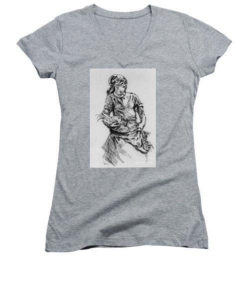 Farm Girl Women's V-Neck T-Shirt (Junior Cut) by Rod Ismay