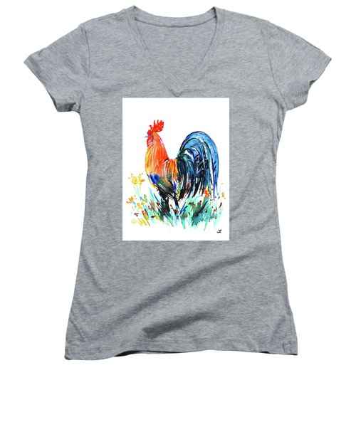 Women's V-Neck T-Shirt featuring the painting Farm Rooster by Zaira Dzhaubaeva