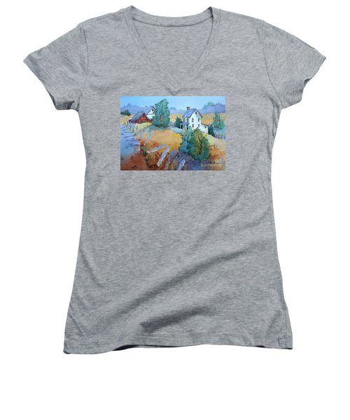 Farm With Blue Roof Tops Women's V-Neck T-Shirt