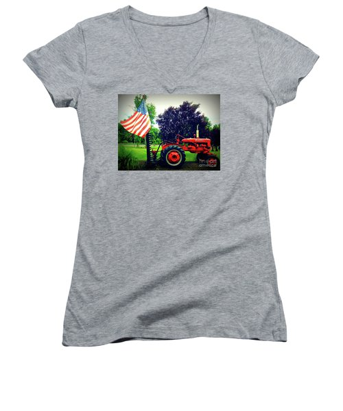 Farmall And Flag Women's V-Neck (Athletic Fit)