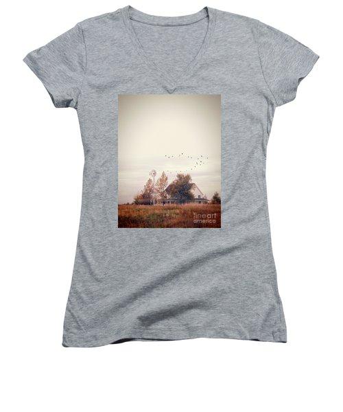 Farmhouse And Windmill Women's V-Neck T-Shirt (Junior Cut) by Jill Battaglia