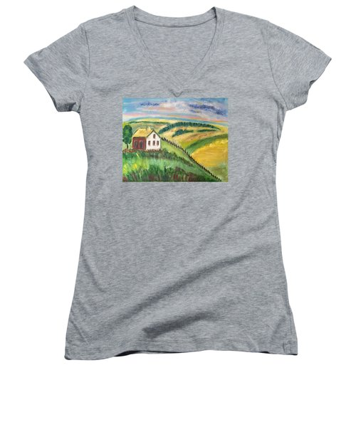 Women's V-Neck T-Shirt (Junior Cut) featuring the painting Farmhouse On A Hill by Diane Pape