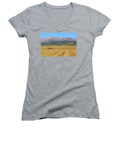 Women's V-Neck T-Shirt (Junior Cut) featuring the photograph Farming In The Highlands by David Chandler