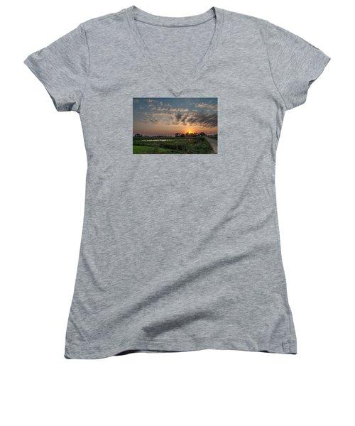 Farmstead Sunrise Women's V-Neck T-Shirt (Junior Cut) by Dan Traun