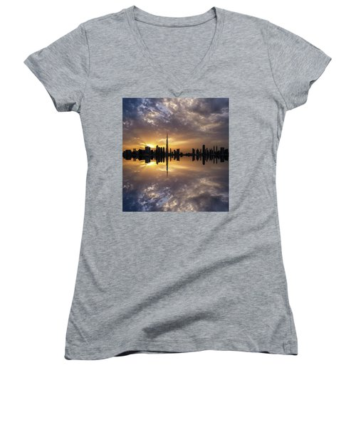 Fascinating Reflection In Business Bay District During Dramatic Sunset. Dubai, United Arab Emirates. Women's V-Neck T-Shirt
