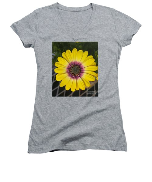 Fascinating Yellow Flower Women's V-Neck T-Shirt (Junior Cut) by Jasna Gopic