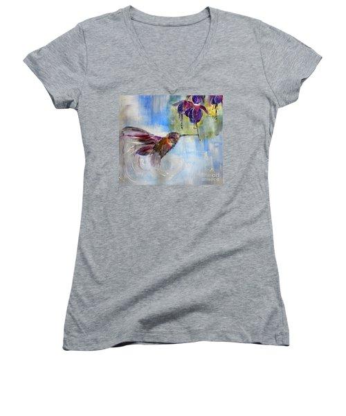 Fast Fuchsia Checkout Women's V-Neck T-Shirt