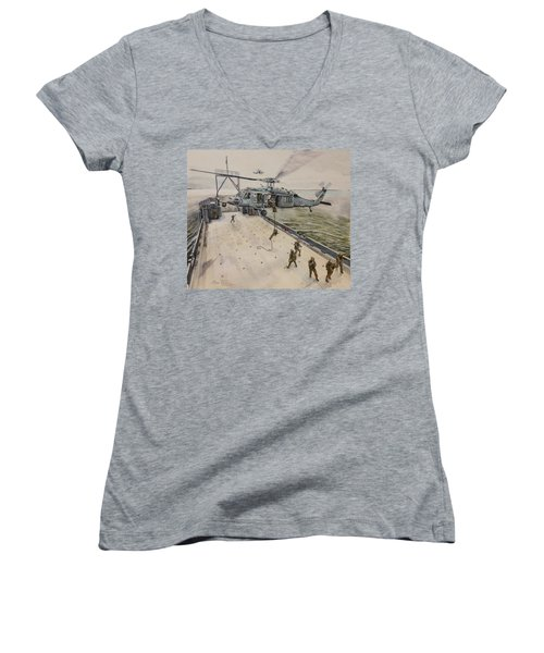 Fast Rope Women's V-Neck T-Shirt (Junior Cut) by Stan Tenney