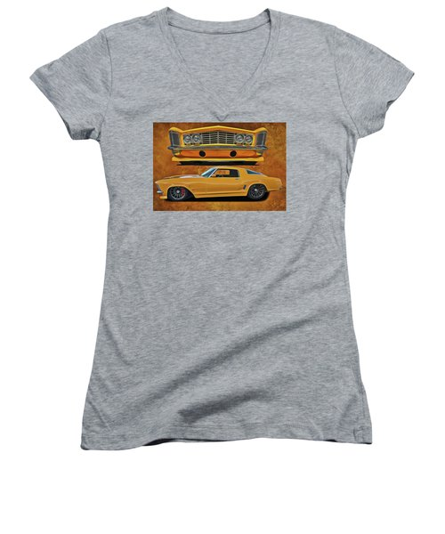 Women's V-Neck featuring the painting Fast Yellow by Harry Warrick