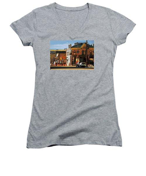Fat Daddy's Women's V-Neck T-Shirt (Junior Cut) by David Blank