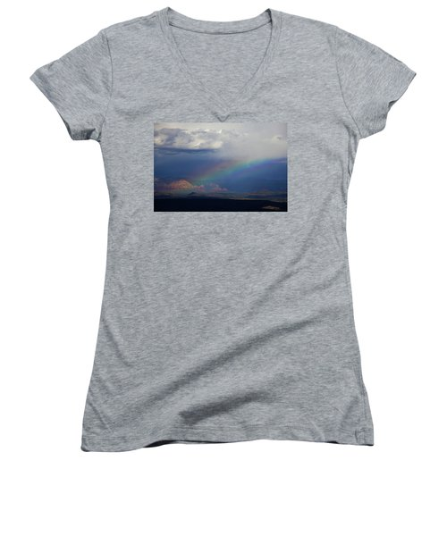Women's V-Neck T-Shirt (Junior Cut) featuring the photograph Fat Rainbow, Sedona Az by Ron Chilston