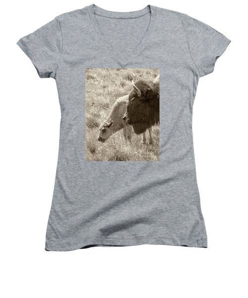 Women's V-Neck T-Shirt (Junior Cut) featuring the photograph Father And Baby Buffalo by Rebecca Margraf