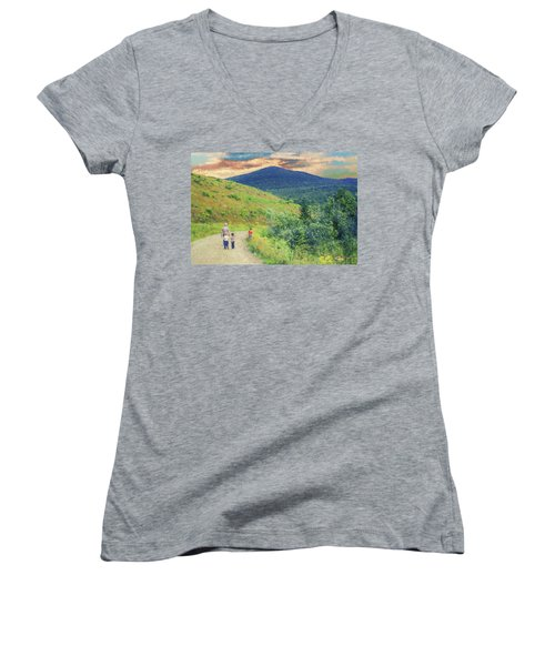 Father And Children Walking Together Women's V-Neck