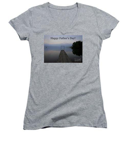 Father's Day Dock Women's V-Neck T-Shirt (Junior Cut) by Douglas Stucky