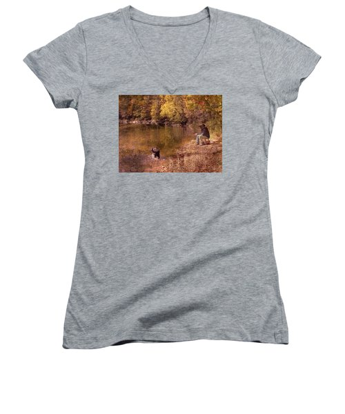 Father,son And Dog Women's V-Neck