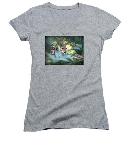 Fawn Peeking Through Bushes Women's V-Neck T-Shirt