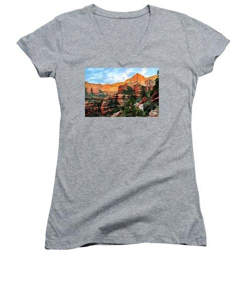 Fay Canyon 07-053 Women's V-Neck T-Shirt (Junior Cut) by Scott McAllister