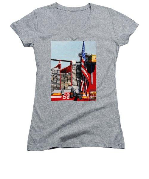 Fdny Engine 59 American Flag Women's V-Neck (Athletic Fit)