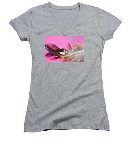 Feather Drop Women's V-Neck T-Shirt (Junior Cut) by Diane Alexander