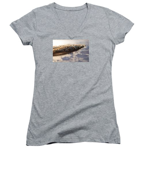 Feather In Puddle Women's V-Neck T-Shirt (Junior Cut) by Adria Trail