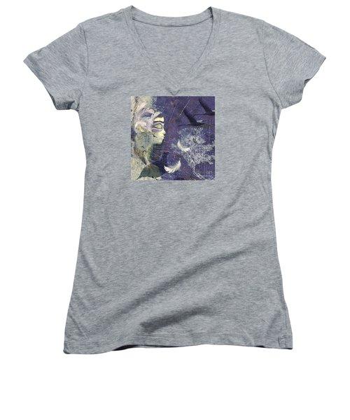 Feathered Friends Women's V-Neck T-Shirt (Junior Cut) by LemonArt Photography