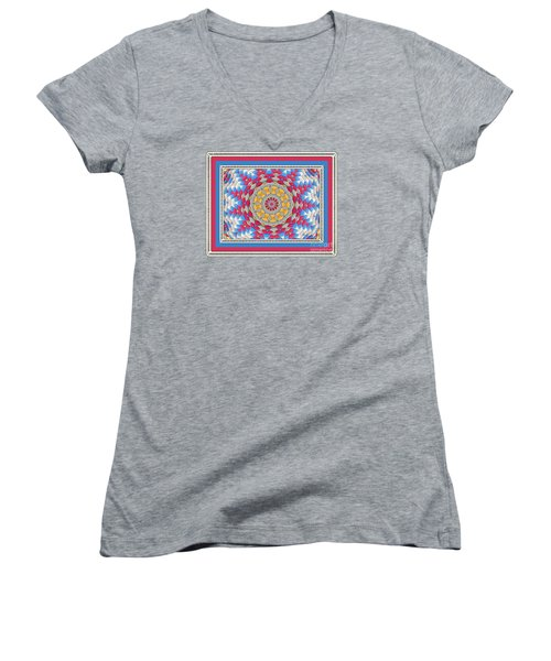 Feathered Star Quilt Women's V-Neck T-Shirt (Junior Cut) by Shirley Moravec