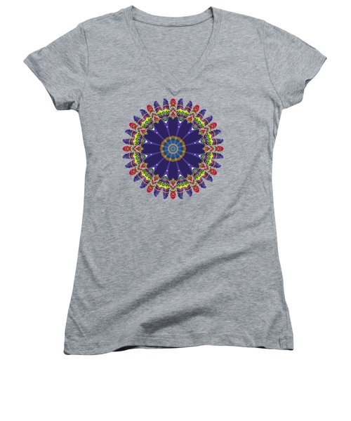 Feathers In The Round Women's V-Neck T-Shirt (Junior Cut) by Mary Machare