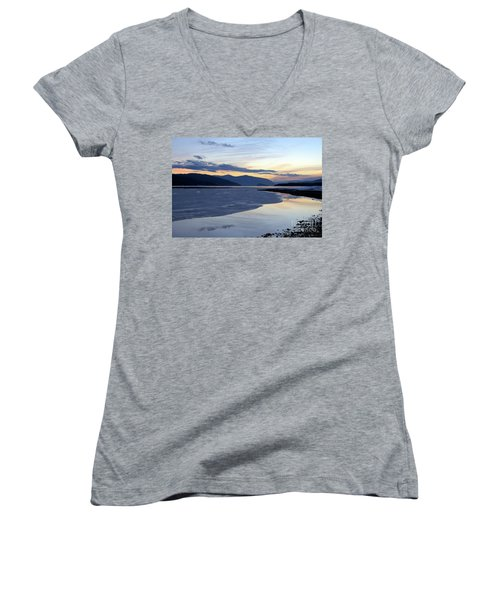 February At Dusk 5 Women's V-Neck T-Shirt (Junior Cut) by Victor K