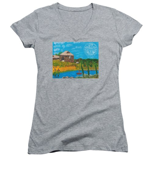 February  Mayan Farm Women's V-Neck (Athletic Fit)