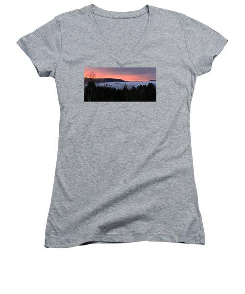 February Oregon Sunrise Women's V-Neck T-Shirt