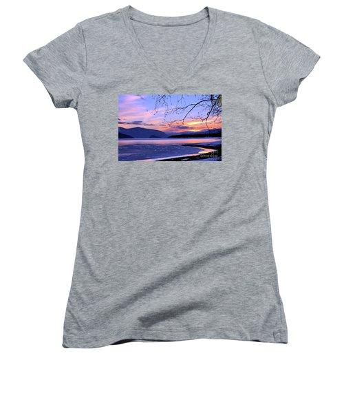 February Sunset 2 Women's V-Neck T-Shirt (Junior Cut) by Victor K