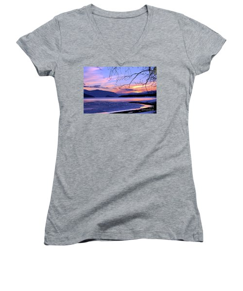 February Sunset 2 Women's V-Neck T-Shirt