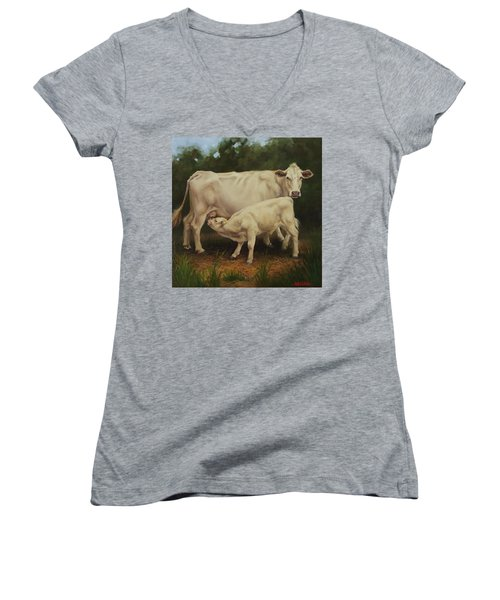 Feeding In The Forest Women's V-Neck T-Shirt